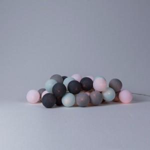 фото Гирлянда хлопковая CottonBallLights 'Aqua-Grey' (35 шариков) #2