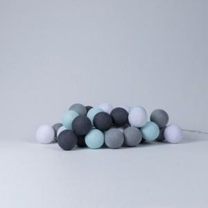 Подарок Гирлянда хлопковая CottonBallLights 'Aqua-Grey' (35 шариков)