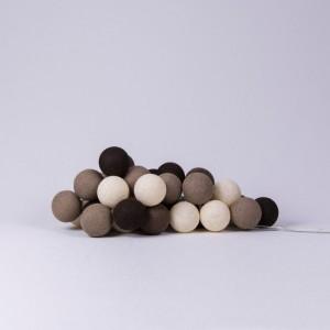 Подарок Гирлянда хлопковая CottonBallLights 'Brown' (20 шариков)