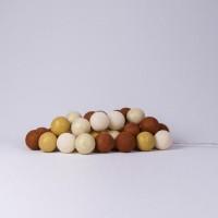Подарок Гирлянда хлопковая CottonBallLights 'Gold & Copper' (35 шариков)