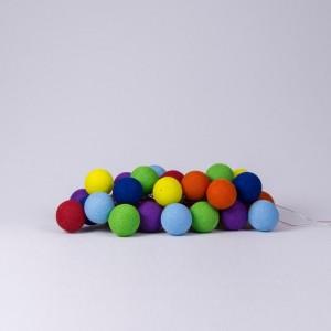 Подарок Гирлянда хлопковая CottonBallLights 'Rainbow' (35 шариков)