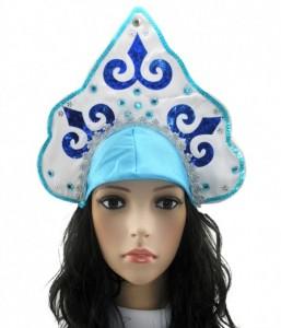 Подарок Кокошник Снегурочки (узор голубой с белым)