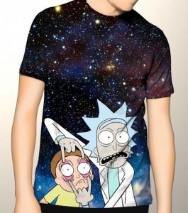 Подарок Дизайнерская футболка 'Space rick and morty 2'