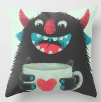 Подарок Интерьерная подушка 'Demon with a cup of coffee'