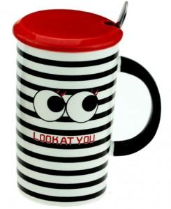 Подарок Чашка с глазами (черная)