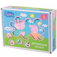 Деревянный игровой набор Peppa – 'Кубики Пеппы' (6 кубиков 4,5х4,5 см, 6 картинок-подсказок) (24441)