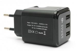 фото Сетевое зарядное устройство PowerPlant W-360 3xUSB: 220V, 3.4A (DV00DV5065) #3