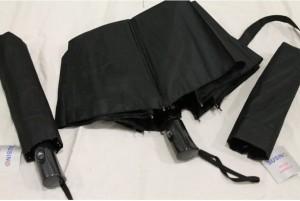 фото Зонт антишторм полуавтомат в 3 сложения (черный) #2