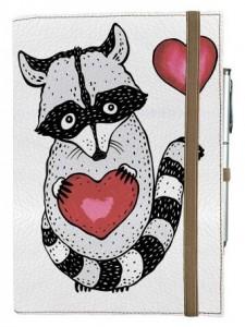 Подарок Блокнот Rainbow А5 'Енотик с сердцем' (эко-кожа) (бежевые листы)