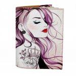 Подарок Обложка на паспорт 'Гламурная девушка с туннелями' (Эко-Кожа)