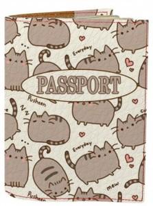 Подарок Обложка на паспорт 'Толстые коты фон' (Эко-Кожа)