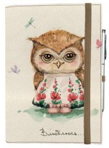 Подарок Блокнот Rainbow А5 'Влюблённая сова' (эко-кожа) (бежевые листы)