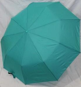 Зонт полуавтомат в 3 сложения с проявкой (антиветер) (мятный)