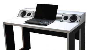 Компьютерный стол со встроенной акустической системой VidLine White