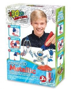 Набор для детского творчества IDO3D с 3D-маркером 'Металлик (3D-маркер-3 шт, шаблон)' (166090)