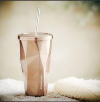 Подарок Стакан Starbucks с крышкой и трубочкой, 500 мл, золото