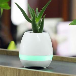 фото Bluetooth колонка-ночник 'Цветочный горшок', белая #4