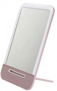 Подарок Зеркало с LED подсветкой (заряжается от USB) (розовый)