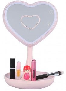 Подарок Зеркало для макияжа с подсветкой и тайником (розовое сердце)
