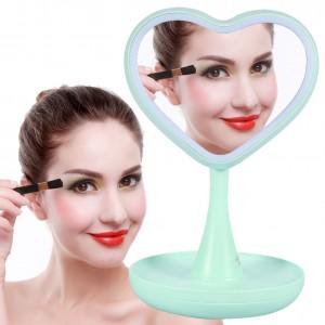 Подарок Зеркало для макияжа с подсветкой и тайником (зеленое сердце)