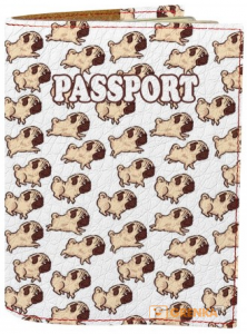 Подарок Обложка на паспорт 'Мопсы. Фон' (Эко-Кожа)