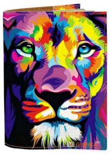 Подарок Обложка на паспорт 'Цветной Лев' (Эко-Кожа)