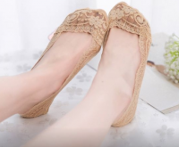 Подарок Кружевные тапочки носочки (Темно-Бежевые)