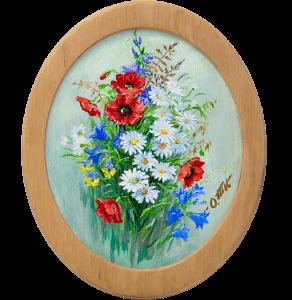 фото Картина 'Полевые цветы' 178x218 мм, масло, холст (овал) #4