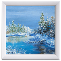 Подарок Картина 'Зима' 225x225 мм, масло, холст