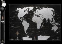 Подарок Скретч карта мира My Map Black Edition Silver