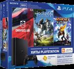 Приставка Sony PlayStation 4 Slim 500 Gb Black (игры Driveclub, Ratchet-an'-Clank, Horizon Zero Dawn и подписка PlayStation-Plus в подарок) (официальная гарантия)