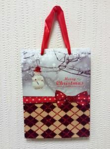 Подарок Подарочный пакет новогодний с глиттером 8823548-7 (24 x 18 x 8 см)