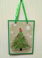 Подарок Подарочный пакет новогодний с глиттером и 3D аппликацией 810418-06 (24 x 18 x 8 см)