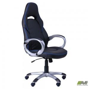 Кресло Art Metal Furniture 'Страйк (CX 0496H Y10)' черное, кант синий (511138)