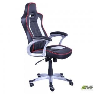 Кресло Art Metal Furniture 'Драйв 1631', к/з PU черный/белые вставки (254191)