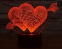 Подарок Светильник 3D 'Два серца'