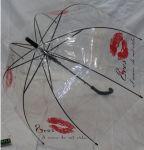 Подарок Зонт - трость 'Поцелуй' грибком прозрачный