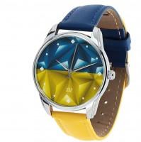 Подарок Часы наручные ZIZ 'Флаг треугольники' сине-желтый (1415916)