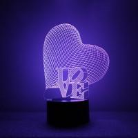 Подарок Светильник 3D Creative Light 'Love'