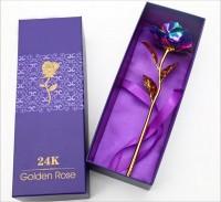 Подарок Сиреневая роза Golden Rose 24k в подарочной упаковке