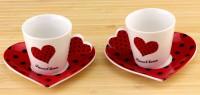Подарок Чашки с блюдцем 'Сердечко' (красные)
