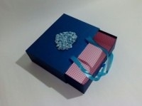 Подарок Подарочная коробка синяя средняя