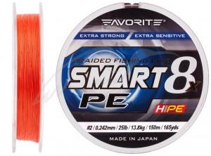 Шнур Favorite Smart PE 8x 150м (красно-оранжевый) #2.0/0.242mm 25lb/13.8kg(16931085)