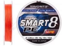 Шнур Favorite Smart PE 8x 150м (красно-оранжевый) #3/0.296mm 35lb/19kg(16931087)