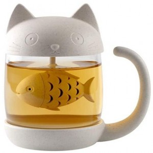 Подарок Чашка-заварник 'Кот с Рыбкой'