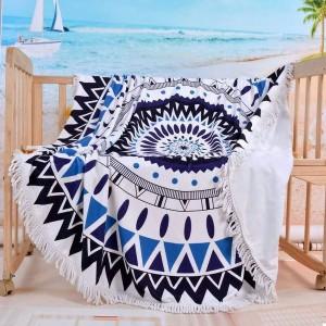 Подарок Пляжный коврик 'Мандала голубая' с бахромой