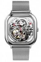 Подарок Часы GIGA Design full hollow mechanical watches Silver (01866)