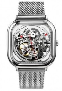 Подарок Часы GIGA Design full hollow mechanical watches Silver (01866)