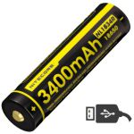 Аккумулятор литиевый Li-Ion 18650 Nitecore NL1834R (3400mAh, USB), защищенный (6-1079-r)