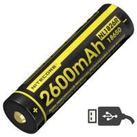 Аккумулятор литиевый Li-Ion Nitecore 18650 NL1826R (2600mAh, USB), защищенный (6-1020-r)